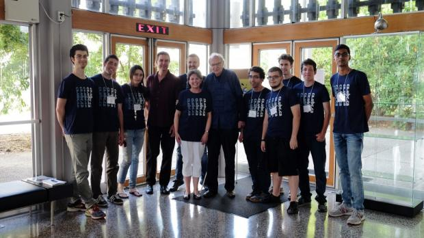 Don Knuth with CS Prof Holger Hoos, staff and students. Photo by Lars Kotthoff.