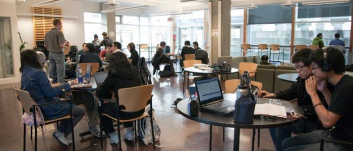 Undergrads in front of Reboot Cafe