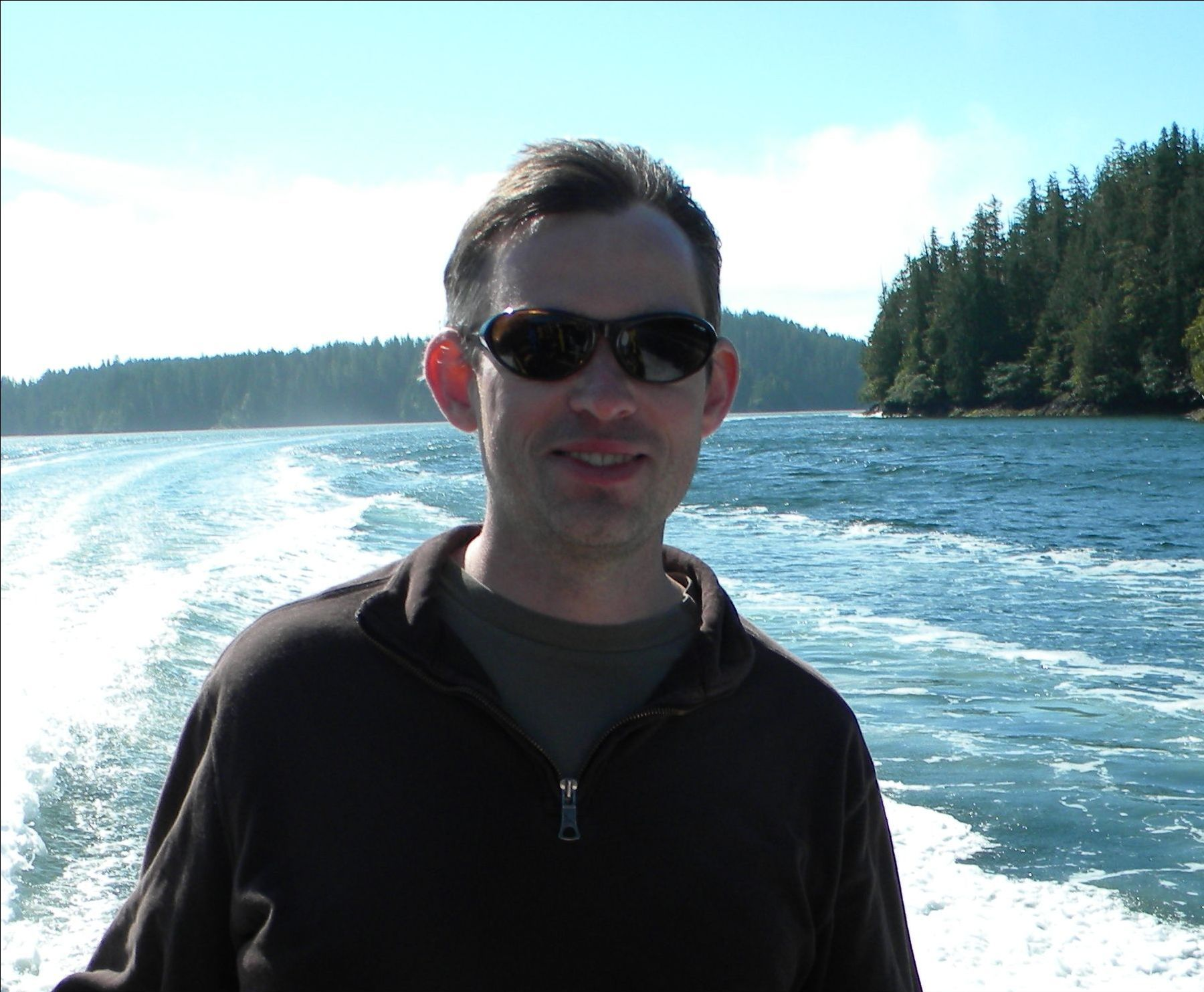 Kevin Murphy on boat in Tofino, BC, August 2010